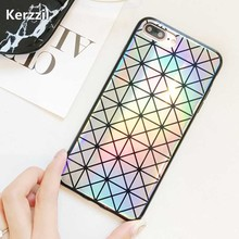 Kerzzil Laser Colorful Triangle Square Phone Case For iphone7 6 6s Fashion Abstract Geometric Back Cover For iPhone 7 8Plus Capa(China)