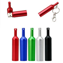 Hot Sale Metal matte red wine bottles 8GB 16GB 32GB 64GB Usb 2.0 Memory Stick U dish Pen Drive Pendrive Can Usb Flash Drive