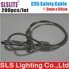 200PCS/LOT 3mm Diameter 59cm Long lighting safety cable steel Stage lighting connector rope cable protection Stainless Steel