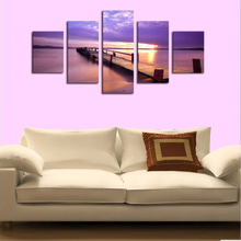 Unframe 5 Panels Purple Light Sea View Picture Canvas Print Painting Artwork Wall Art Canvas Painting For Home Decor art picture