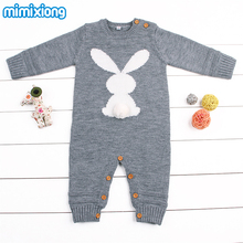 Baby Girl Bodysuits Winter Warm Newborn Boys One-Piece Jumpsuits Cute Rabbit Knit Long Sleeve Body Suits With Legs Sunsuit 0-24M(China)