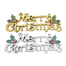 "Gold Silver Christmas Decor Hanging Glitter Xmas Letters ""Merry Christmas"" Wall Hanger Home Party Decoration Display Sign"
