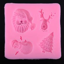 3D Christmas Xmas Ornaments Silicone Fondant Cake Molds Soap Chocolate Mould Christmas Snowman Tree Santa Chocolate Silicon Mold