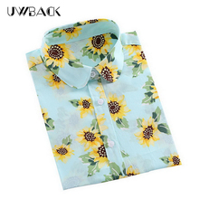 Uwback Women's Sunflower Shirt 2017 New Spring Women Sweet Cotton Floral Shirt Casual Plus Size Female Long Sleeve Blouses,EB110