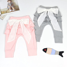 Spring Autumn Kids Leggings Cotton Lace Bowknot Baby Ruffle Skirt Pants Toddler Girls Harem Trousers Infant Children Clothing(China)