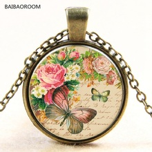 Rose Butterfly Glass Pendant Necklace of jewels In Time New(China)