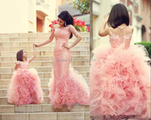 New Arrival Pink Children Flower Girl Dresses Bow Sash Beaded Appliques Tulle Ball Gown Flower Girl Dresses For Weddings 2015(China)