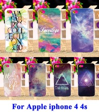 Hard Plastic Phone Cases  For iPhone 4 4s Covers Star Sky Painted Pattern Wholesale and Retail DIY Back Protection Shell Cover