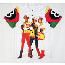 Real American Size Salt N Pepa 8 Ball  3D Sublimation Print Custom made Button up baseball jersey plus size