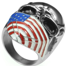 Size 7-15 Stainless Steel Skull Biker Ring USA American Flag Gothic Pirates Halloween Costume Punk Style - Fang Jewel store