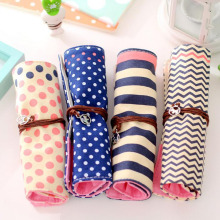 AB48 1X Cute Canvas Dots Striped Pencil Case Rolling Bandage Pen Bag School Office Supplies Stationery