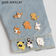 QIHE JEWELRY 8pcs/set Boston Terrier Poodle Pomeranian Corgi Bulldogs Enamel Dog Pin Animals Pin Gift idea(China)