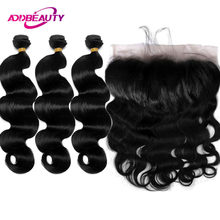 AddBeauty Ear To Ear Lace Frontal Closure With Bundles Peruvian Body Wave With Frontal Closure Free Part Virgin Human Hair(China)