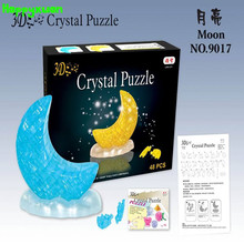 Happyxuan  DIY 3D Jigsaw Crystal Puzzle Moon Plastic Home Decoration Birthday Gift for Children