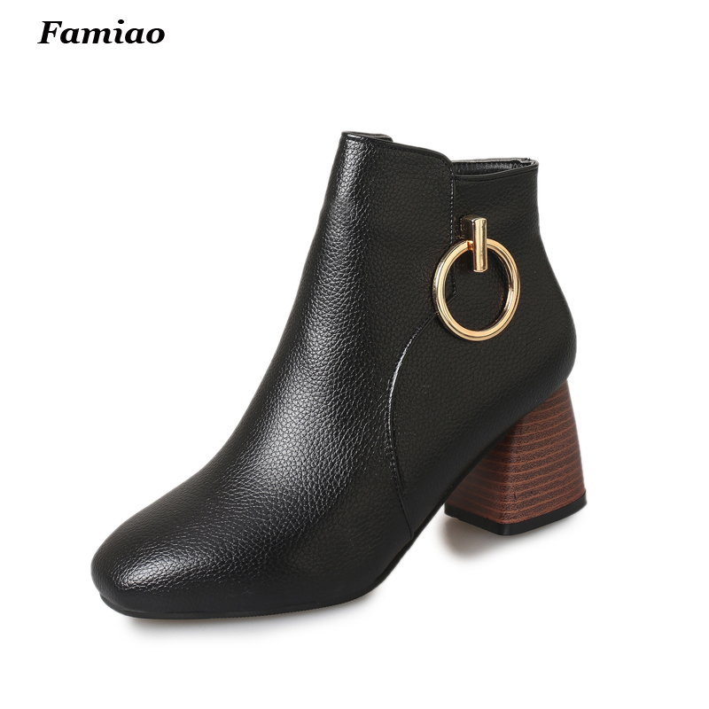 Women Ankle Boots Leather chunky chelsea boots Fashion Solid Colors Phigh heels Shoes Woman ankle martin Booties<br><br>Aliexpress