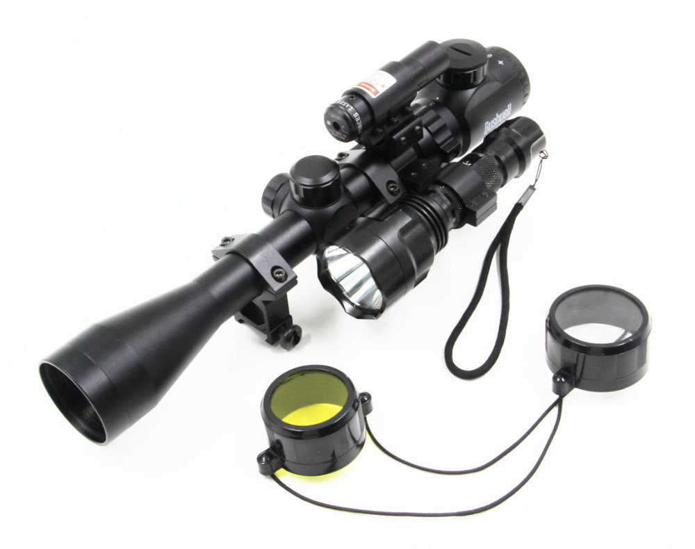 1set Promotional Hunting Compact Combo 3-9x40EG Rifle Scope w/ Laser &amp; CREE T6 LED Hunting Flashlight 5Mode C8 Torch Flash Light<br><br>Aliexpress