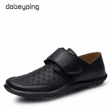 New Men's Casual Shoes 100% Genuine Leather Men Flats Hook & Loop Man Loafers High Quality Male Business Footwear Man Boat Shoes