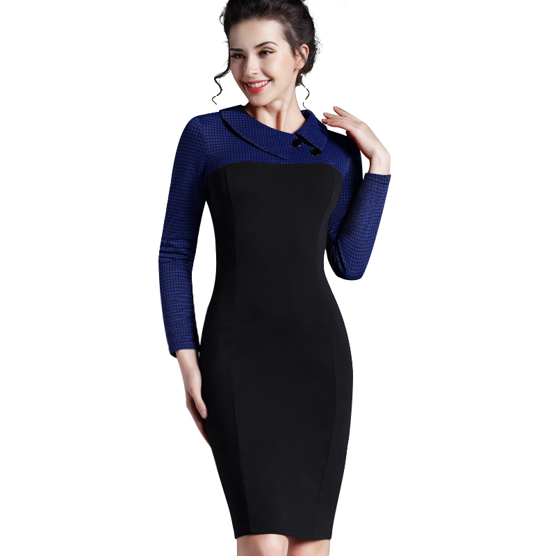 Nice-forever Elegant Vintage Fitted winter dress full Sleeve Patchwork Turn-down Collar Button Business Sheath Pencil Dress b238 17