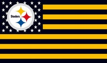 Pittsburgh Steelers Flag with Star and Stripes Yellow&Black Patchwork Color Banner 100D Polyester Flag metal Grommets 90*150 CM(China)
