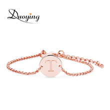 Duoying Disc Bracelet Custom Engraved Name Bracelet Personalized Initial Bracelet Simple Gold Shinny Tiny Disc Bracelet For eBay