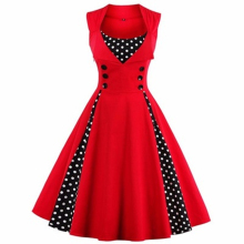 Women Fit Flare Vintage Wave Point Sleeve Put On A Large Tutu Empire Dress Princess Polka Dot Slim Big Dress Size S-4XL LXT117(China)