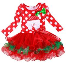 christmas-costumes-for-children-kids dresses-for-girls-new-year long sleeve Polka Dot girls red christmas dress ropa de ninas