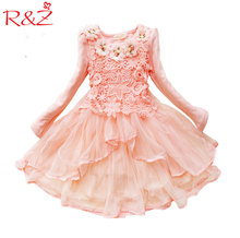 R&Z 2017 Flower Girl Dress Princess Tutu Party Gift Wedding Veil Flower Girl Dress Children Clothing Dress Macarons Candy Colors(China)