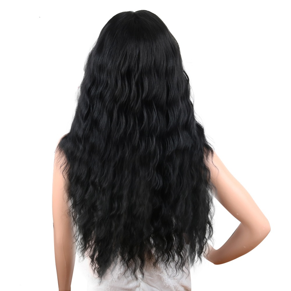 Deyngs Black Wavy Synthetic Wigs Natural Long Curly Wigs Loose Body Wave Wig Heat Resistant Full Wigs for African American Women (2)