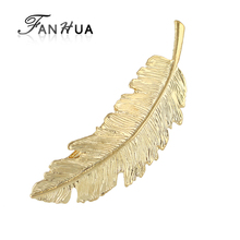 FANHUA Fashion Hair Jewelry Gold-Color Silver Color Leaf Shape Hairgrips New Coming Wedding Hair Accessories for Women