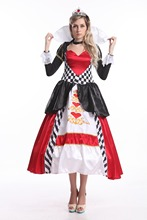 FREE SHIPPING! Deluxe Queen of Hearts Ladies Fancy Dress Costume Alice In Wonderland Costume Outfit