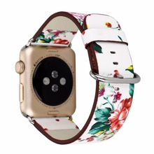 National Black White Floral Printed Leather Watch Band Strap for Apple Watch Flower Design Wrist Watch Bracelet for iwatch I212