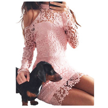 Women Pink Lace Dress Cut Out Cold Shoulder Long Sleeve Bodycon Dress Halter Fashion Elegant Evening Party Mini Dress