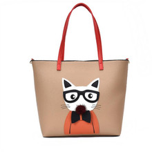 M610 Autumn Winter High Fashion Women Handbags Personalized Creative Stereo Cat Printing Big Size Pu Leather Shoulder Bag(China)