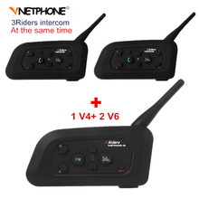 Vnetphone V4+2 Pcs V6 Motorcycle Helmet Bluetooth Intercom System BT Stereo Interphone Handsfree Headset for 3 Riders Group Chat(China)