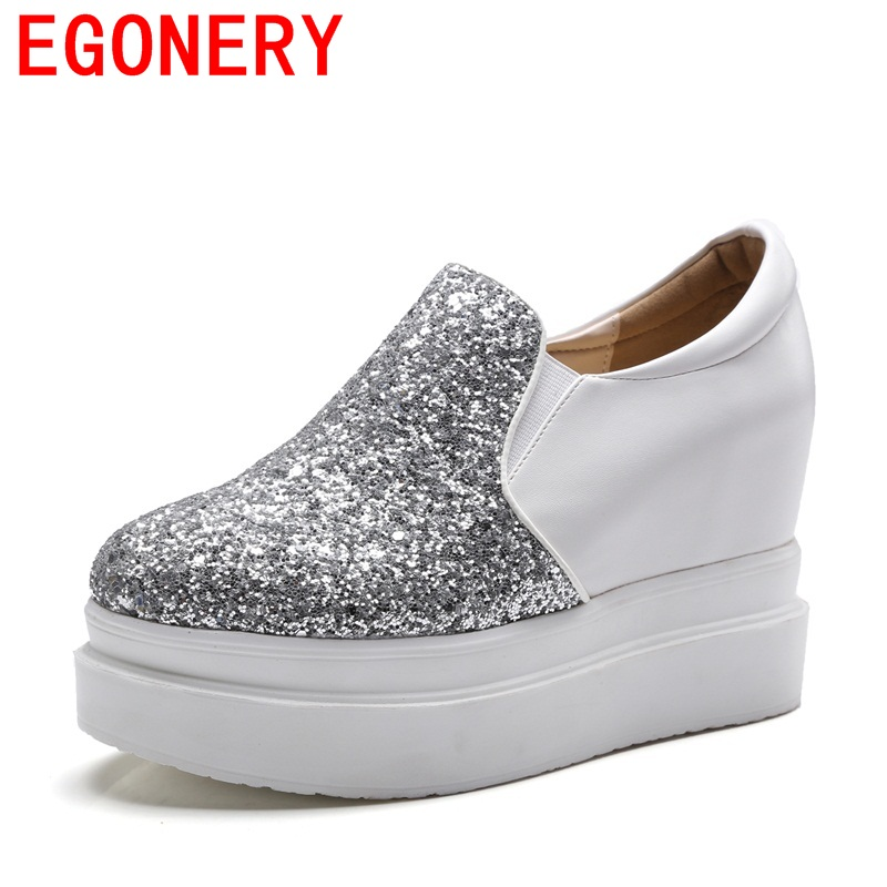EGONERY new arrival sequined cloth round toe all-match style high height increasing pumps breathable campus woman platform shoes<br>