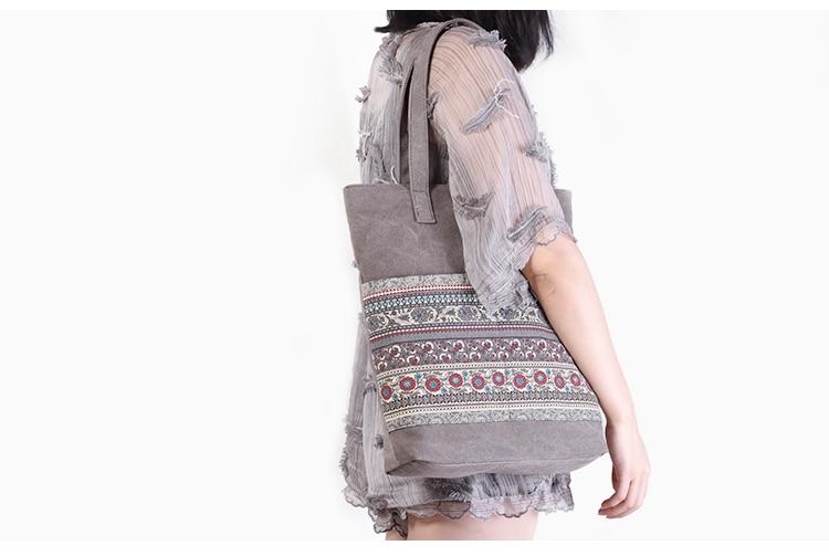 Canvasartisan Brand new canvas women handbags floral vintage female shopping shoulder bag zipper closure tote hand bags 2