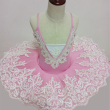 pink color Girls Ballet Dress Kids Dance Clothing Girls Lace Tutu Costumes Ballerina Leotard Dancewear Strapless ballet performa(China)