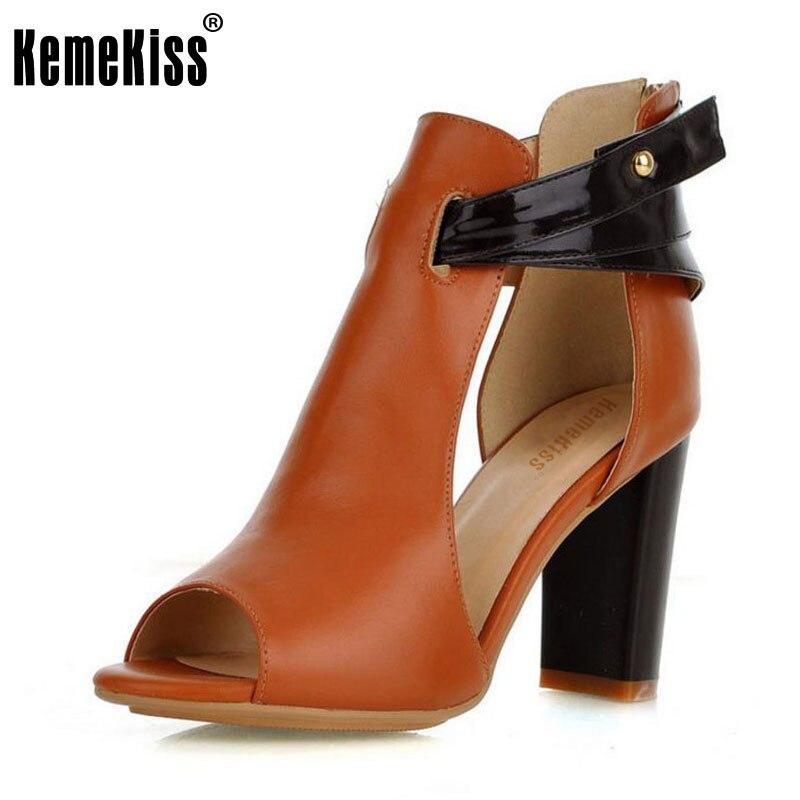 KemeKiss Ladies Fashion Heels Platform Sandals Shoes Womens Natural Real Genuine Leather High Heel Sandals Footwear Size 32-43<br>