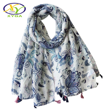 1PC 2018 Summer New Bohemia Style Acrylic Cotton Women Long Tassels Scarf Breathable Voile Tassels Thin Wrap Shawls Pashminas(China)