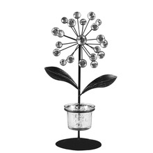1PC Tealight Holder Iron and Glass Plant Shape with Acrylic Beads Flower Candle Holder Candlestick Home Hotel Bar Decoration(China)