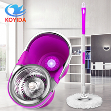 360 rotating mops Kitchen floor cleaning Portable stainless double-drive hand pressure spin Microfibre Fabric head with bucket(China)