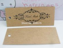 Model 04 Square 70MM*28MM Printed HAND MADE Brown Paper packing tags 50pcs/lot garment tags