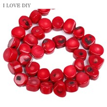 "12*10mm A strand (16"" ) Wholesale Red Round Natural Coral Stone Spacer Beads  For DIY Jewelry Making Bracelets"