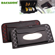 RACAHOO Car Sun Visor multifunctional Tissue CD Box with Holder 14 Disc Tidy Sleeve for DVD Card Case Storage Holder Organizer(China)
