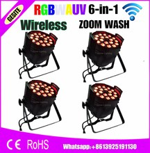 4pcs/lot wireless control Alibaba/Alixpress Stage Light Par Can 18x18w RGBWAUV 6in1 Zoom Led Par