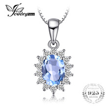 JewelryPalace Princess Diana 2.9ct Natural Blue Topaz Pendants Solid 925 Sterling Silver Charm Fashion Fine Jewelry For Women(China)