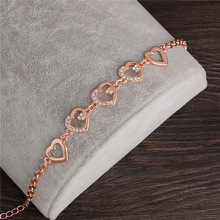2017 Rose Gold Color Chain Link Bracelet for Women Ladies Crystal Heart Jewelry Gift Wholesale Price Girls Bracelets & Bangles
