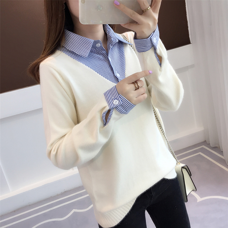 Fake two shirts, collar sweater, female top 2019 autumn style new Korean style loose long sleeved student knitted sweater.