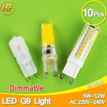 10pcs 5w~12w Dimmable COB LED G9 220V Replace 30~70W halogen SMD2835 LED light Led bulb G9 lamp Crystal Lampara Bombilla Ampoule