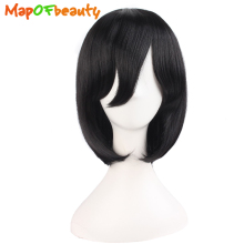 MapofBeauty short straight Bob Wigs Black dark brown 14inch Nautral Synthetic hair Heat Resistant Halloween cosplay wig Pelucas(China)
